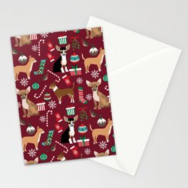 Chihuahua christmas presents dog breed stockings candy canes mittens Stationery Cards