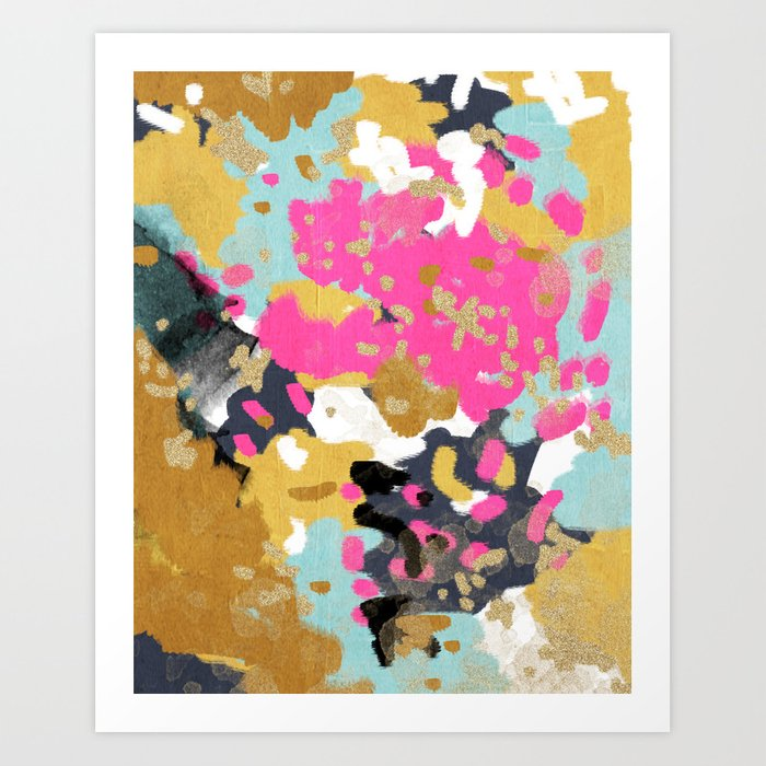 Laurel - Abstract painting in a free style with bold colors gold, navy, pink, blush, white, turquois Kunstdrucke