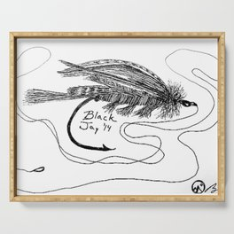 """""""Trout Fly #3"""" Fly Fishing Art, Hand-Drawn by Dark Mountain Arts Serving Tray"""