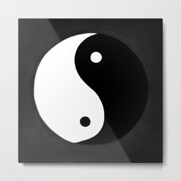Yin and Yang BW Metal Print