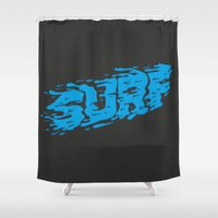 surf Shower Curtains featuring SURF by Some Kid Chris