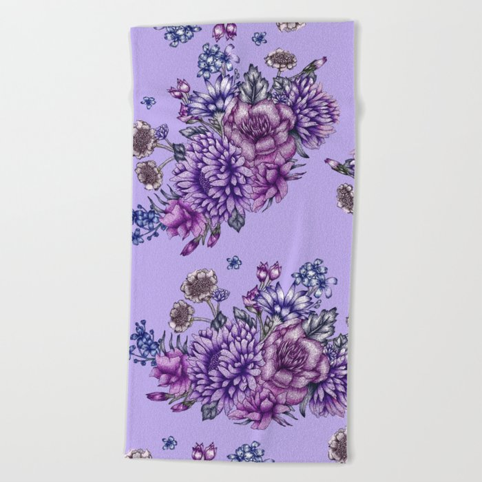 Vintage Purple Florals Beach Towel