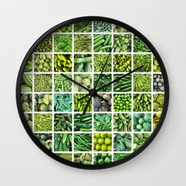 Fruit & Vegetables. Home Decor: Modern, colorful collage for your kitchen, home and cafe. Wall Clock