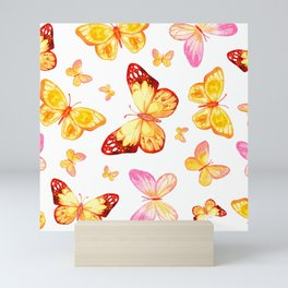 Butterflies In Pink And Yellow Sweet Scatter Pattern Mini Art Print