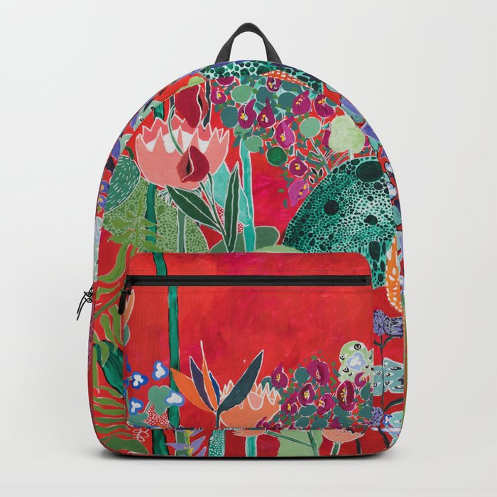 Red floral Jungle Garden Botanical featuring Proteas, Reeds, Eucalyptus, Ferns and Birds of Paradise Backpack