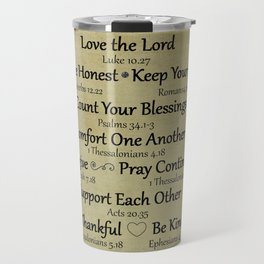 Christian Faith Family Rules w/Scripture Reference Travel Mug