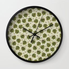 Green Maple Leaves with Helicopter Seeds Wall Clock