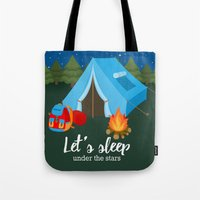 backpack Tote Bags featuring Camping blue tent by Juliana RW