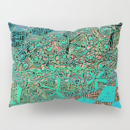 abstract colorful zentangle, checkerboard, star by Marcia Ganeles Pillow Sham