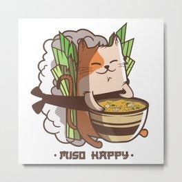 Miso Happy Cat Lover Japan Sushi Nigiri Gift Metal Print