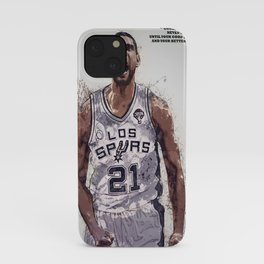 Tim Duncan poster, canvas, San Anto-nio Spurs Wall Art Decor, Gym, Home Living, Bedroom, Office Decorations, mancave with quote / citation iPhone Case