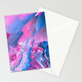 Dangerous Safety Glitched Fluid Art Stationery Cards