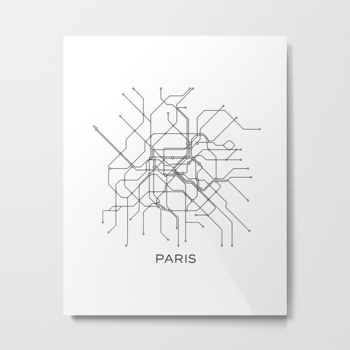 Black And White Subway Map.Paris Metro Map Subway Map Paris Metro Graphic Design Black And White Canvas Metropolian Art Metal Print By Printablelifestyle