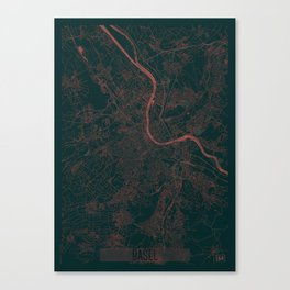 Basel Map Red Canvas Print