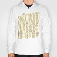 grid Hoodies featuring Gold Herringbone by Cat Coquillette