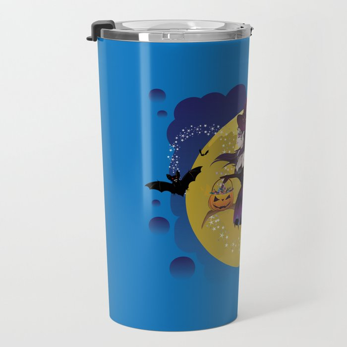 Cartoon witch flying Travel Mug