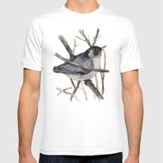 Grey Birdy 2 MEDIUM Mens Fitted Tee White