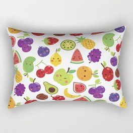 Funny colorful happy cute summer fruit pattern Rectangular Pillow