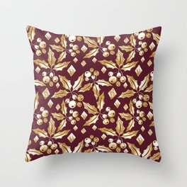 Christmas pattern.Gold sprigs on a dark Burgundy background. Throw Pillow