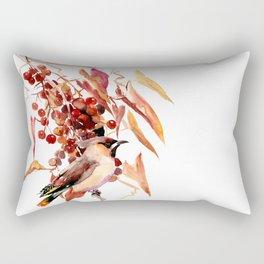 Waxwing Bird and Fall Faliage Rectangular Pillow