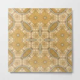 Victorian Art Deco Medieval Pattern light brown SB20 Metal Print