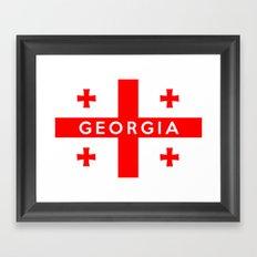 Georgia country flag name text Framed Art Print