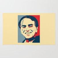sagan Area & Throw Rugs featuring Carl Sagan 'Hope' by cvrcak