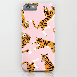 Rolling tigers - cute big cat hand drawn illustration pattern iPhone Case