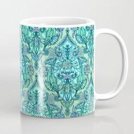 Botanical Moroccan Doodle Pattern in Mint Green, Lilac & Aqua Coffee Mug