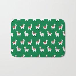 llamas cute nursery home decor alpaca pattern print by charlotte winter Bath Mat