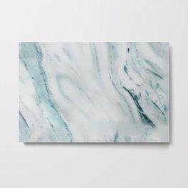 Teal Streaked Marble Metal Print