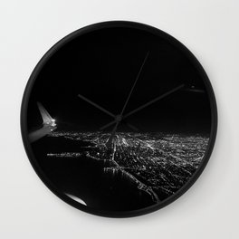 Chicago Skyline. Airplane. View From Plane. Chicago Nighttime. City Skyline. Jodilynpaintings Wall Clock