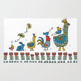 Swedish Folk Art Goose Fable Rug