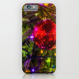 Red Ornament Ball, Blue Lights iPhone Case