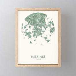 Vintage Styled Map of Helsinki | Pastel Green Print Poster Framed Mini Art Print