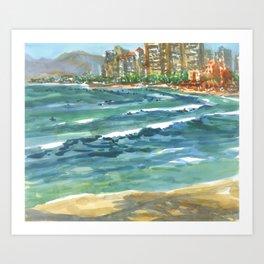 Hawaii - Maui Waikiki Surfers Art Print