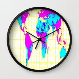 World Map: Gall Peters Colorful Wall Clock