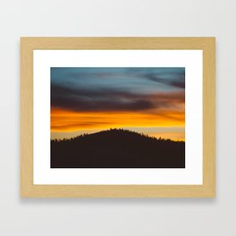 Mountain Hill With Trees Orange And Blue Sunset Clouds Framed Art Print