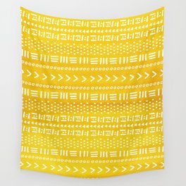 Yellow Boho Stripes Pattern Wall Tapestry