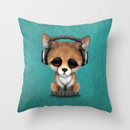 Cute Red Fox Cub Dj Wearing Headphones on Blue Throw Pillow
