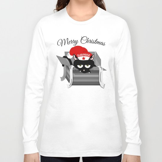 Naughty Cat Merry Christmas Long Sleeve T-shirt