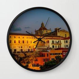 Cloister and church of Carmen at dusk - Mahon, Menorca Wall Clock