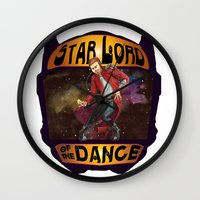 starlord Wall Clocks featuring (Star) Lord of the Dance by Fiendish Thingy Art