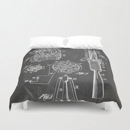 Rocket Ship Patent - Nasa Rocketship Art - Black Chalkboard Duvet Cover