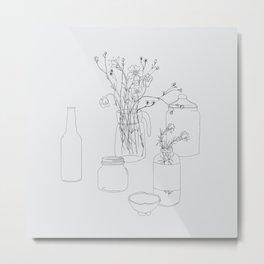Flowers and jars Metal Print
