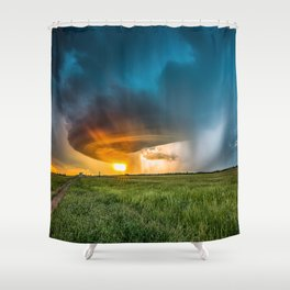Invasion - Colorful Storm Invading Central Oklahoma Plains Shower Curtain