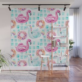 Summer flamingo pool floats. Watercolor flamingo, unicorn pool float, ring donut lilo floating in blue swimming pool. Vintage hand painted illustration pattern Wall Mural