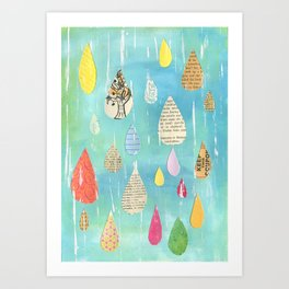 Pale Raindrops Art Print