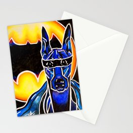 Dobie Bat man Original Design Painting Dog Pet Doberman Pinscher Superhero Hero Super Black Yellow Stationery Cards