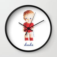 the dude Wall Clocks featuring dude by giftedfools design studio